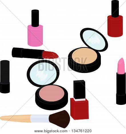 fashion beauty products set, lipstick, nail polish, powder, blush isolated on white