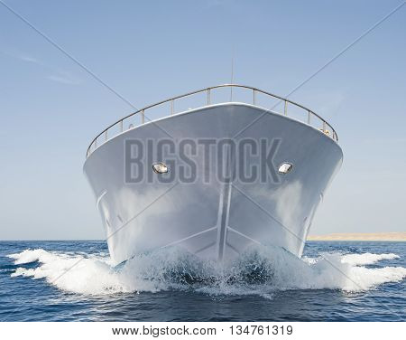 Bow Of Large Motor Yacht At Sea