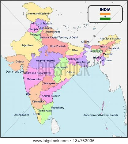 Illustration of a Political Map of India with Names