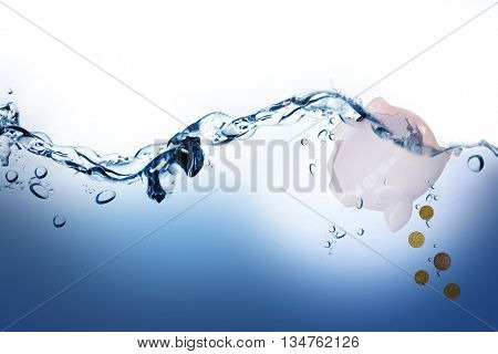 Twenty cents coin on a white background against water bubbling on white surface
