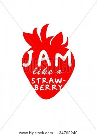 CLEVER STRAWBERRY PUN , VECTOR TYPOGRAPHY DESIGN , ON WHITE BACKGROUND