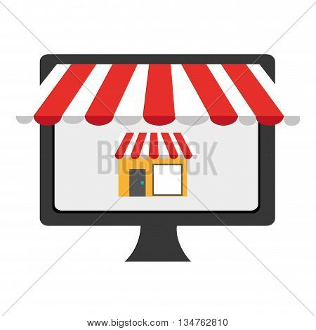 black electronic device screen with colorful commerce icon on the screen over isolated background, vector illustration, commerce concept