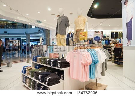 KUALA LUMPUR, MALAYSIA - MAY 09, 2016: Uniqlo store in Suria KLCC. Uniqlo Co., Ltd. is a Japanese casual wear designer, manufacturer and retailer.