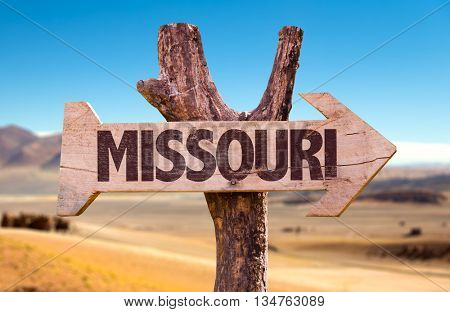 Missouri wooden sign with a desert background