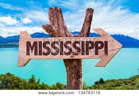 Mississippi wooden sign with landscape background