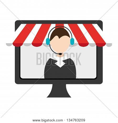 black electronic device screen with avatar man  icon on the screen over isolated background, vector illustration, commerce concept