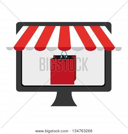black electronic device screen with red shopping bag icon on the screen over isolated background, vector illustration, commerce concept