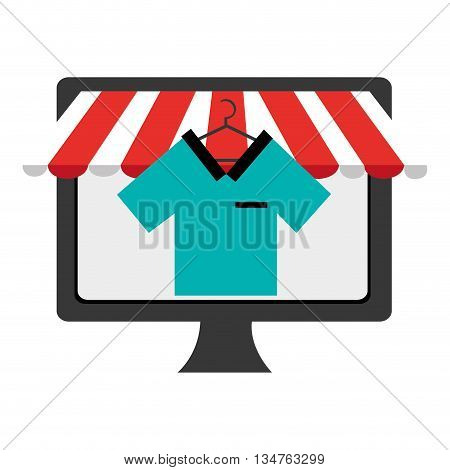 black electronic device screen with colorful shirt icon on the screen over isolated background, vector illustration, commerce concept