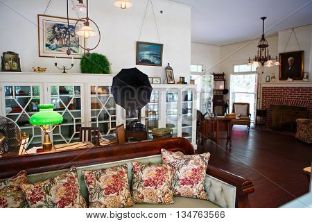 FORT MYERS, FL-APRIL  15 2016: Fort Myers Florida, Thomas Edison and Henry Ford Winter Estates. Main Ford estate house museum. Antique living room.