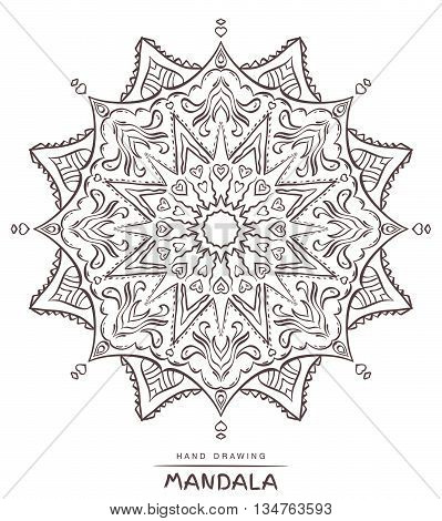 Mandala with decorative elements for coloring on white background. Vector illustration.