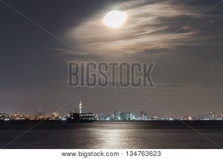 pattaya city in Thailand with moon viewpoint from koh larn island