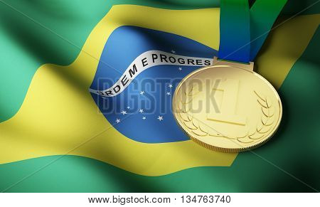 Brazilian flag and gold medal. 3d rendering.