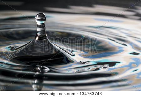 Water drop in the shape of a chess pawn with turquoise blue rippled background