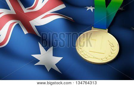 Australia flag and gold medal. 3d rendering.