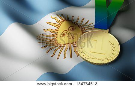 Argentine flag and gold medal. 3d rendering.