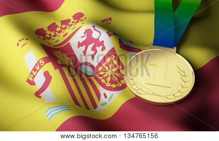 Spain flag and gold medal. 3d rendering.
