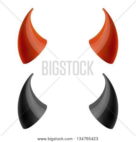 Red and black devil horns. Horn evil, demon horn, carnival horn satan. Vector illustration