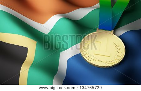 South Africa flag and gold medal. 3d rendering.