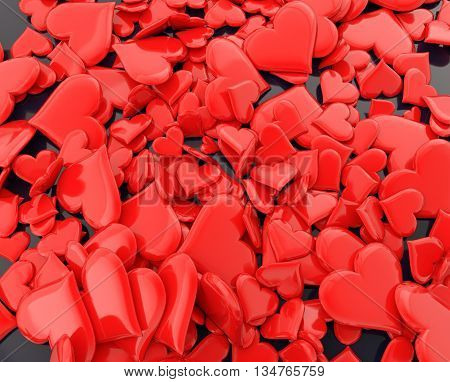 Bunch of scatter crimson red hearts on dark plate