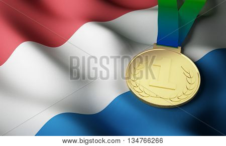 Dutch flag and gold medal. 3d rendering.