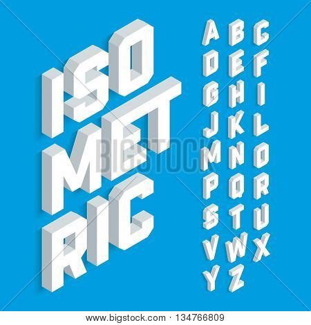 White isometric 3d font, Three-dimensional alphabet letters. Vector illustration.