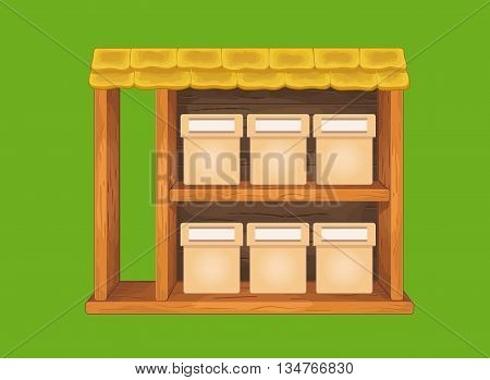 Game wooden store window with tile roof