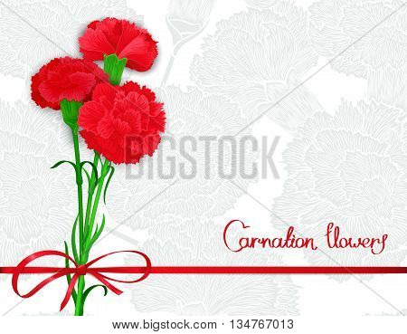 Background template with bouquet of three red carnations and silk ribbon with a bow. Vector illustration. Stylized design for backdrop banner and other decoration