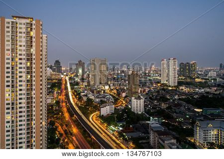 Cityscape: The City View Of Low And High Rises Buildings In Bangkok, Thailand