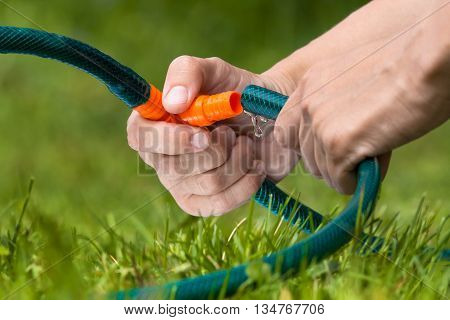 hands connecting garden hoses for irrigation lawn