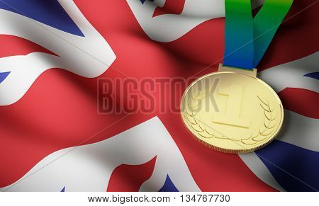 Great Britain flag and gold medal. 3d rendering.