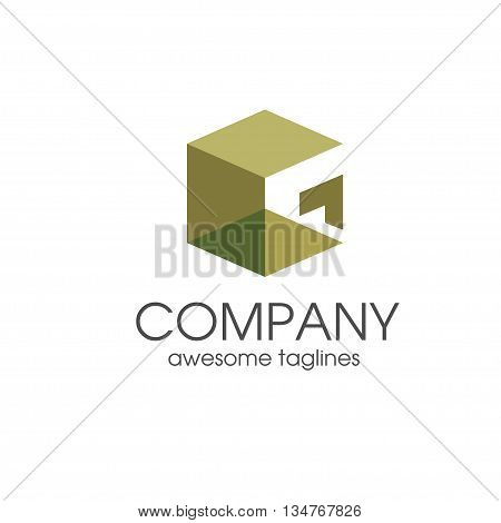 creative letter G square 3d vector, letter G concept