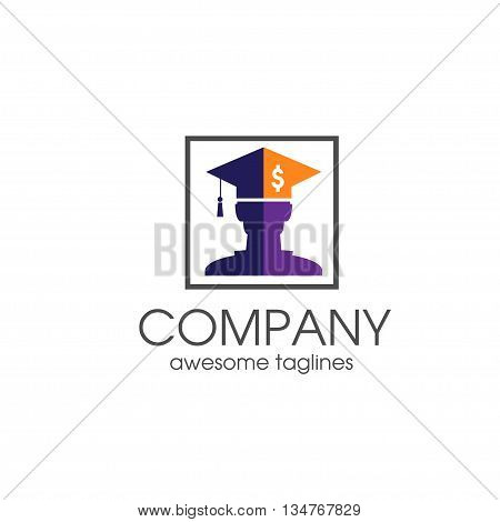 Student loan financial logo concept, graduate hat logo