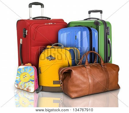 Luggage consisting of large suitcases rucksack and travel bag isolated on white background