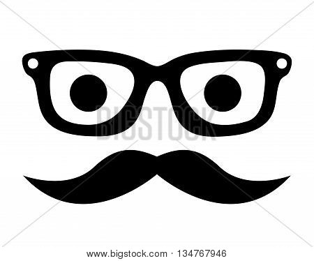 mustache and glasses hipster style  isolated icon design, vector illustration  graphic