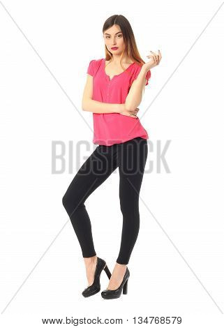 Beautiful Blonde Teenager In Black Leggings Isolated