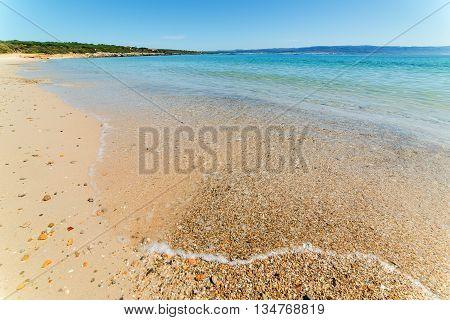pebbles on the foreshore in Lazzaretto beach Sardinia