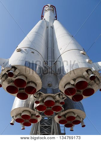 Moscow - 24 August 2015: Exhibits ENEA - space rocket Vostok which flew the first cosmonaut - Yuri Gagarin August 24 2015 Moscow Russia