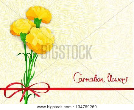 Floral background design with textured print and three flowers of carnations. Vector illustration. Stylized backdrop banner and other decoration