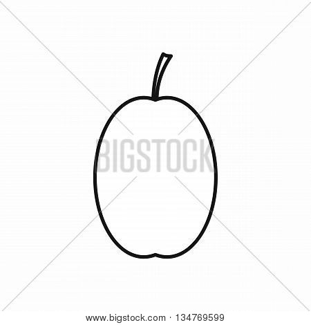 Plum icon in outline style isolated on white background