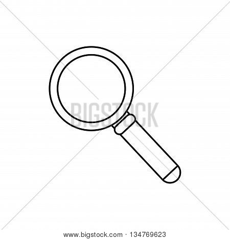 simple black magnifying glass with handle vector illustration isolated over white