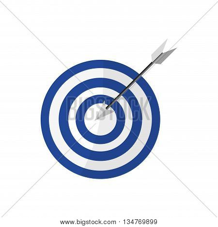white and blue bullseye with arrow in center vector illustration isolated over white