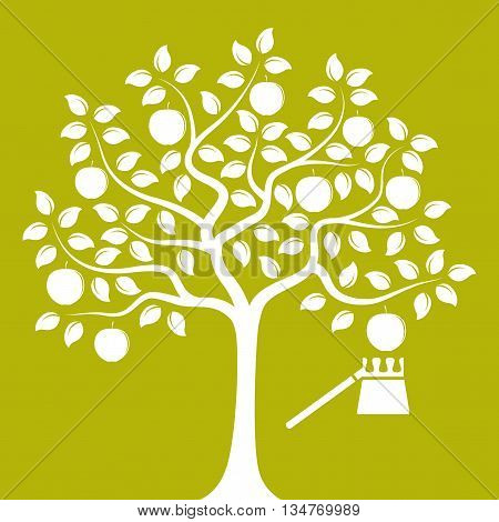 vector apple tree and fruit picker isolated on green background