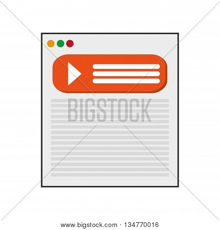webpage with orange icon vector illustration isolated over white