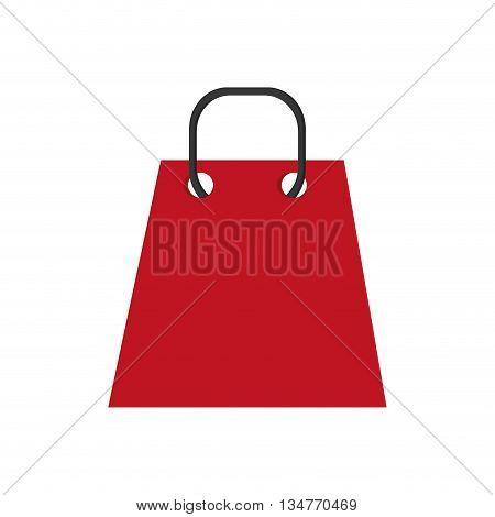 red shopping bag with black string handle vector illustration isolated over white