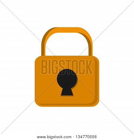 yellow closed safety lock with keyhole in the center vector illustration isolated over white
