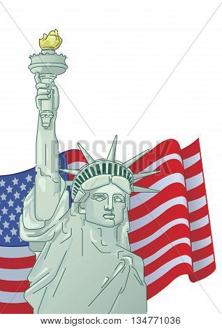 Greeting card with U.S. flag and statue of Liberty. 4th of July. Independence day of United states.