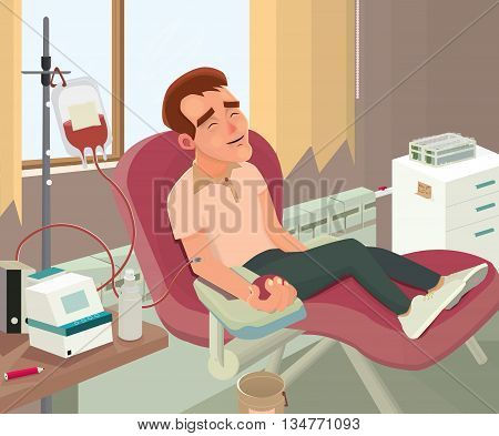donor, a person donates blood, charity blood donation, vector illustration donation