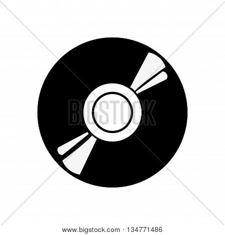 black and white cd vector illustration isolated over white