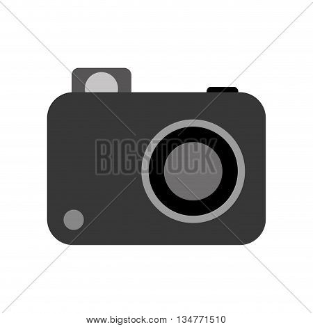 simple grey and black photographic camera with lens, flash and button vector illustration isolated over white