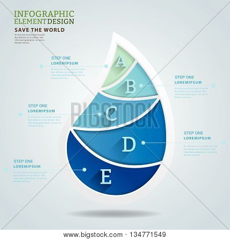 3d water shape infographic. Can uesd for presentation, data diagram and infographic business